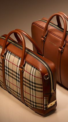 Heritage-inspired briefcases for men in Horseferry check and classic tan leather. Find the perfect gift this festive season at Burberry.com #burberrygifts #christmas