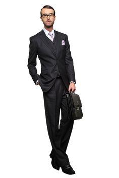 Men's 3Pc Suits   TZ-203 2 BUTTON 3PC CHARCOAL SUIT WITH 2 SIDE VENT