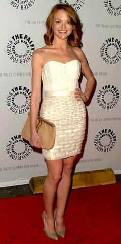 Look of the Day › March 15, 2010 WHAT SHE WORE Mays added tan Brian Atwood pumps and a matching Jimmy Choo clutch to her Christian Cota bustier and layered skirt WHERE The Glee panel discussion at PaleyFest in L.A.'s Saban Theatre
