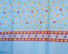 Vintage 1940s Floral Fabric blue with Roses by nanascottagehouse