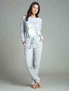 Womensecret. Pyjama à long pyjama de coton Avec le fantôme impression
