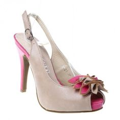 Sandale dama cu platforma beige/fuchsia Carolina - Platform woman sandals