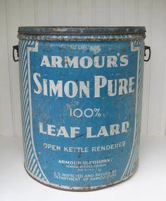 Antique Tin Huge Lard Tin Armours Simon Pure Leaf by PoemHouse