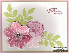 SU! Secret Garden stamp set and Framelits; Petite Pears stamp set (sentiment) in Primrose Petals, Pink Pirouette and Certain Celery; tinted shimmer paint technique - Michele Reynolds