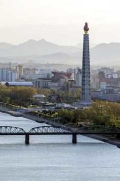 City Skyline and the Juche Tower, Pyongyang, Democratic People's Republic of Korea (DPRK), N. Korea