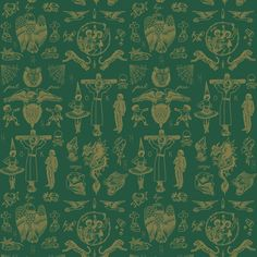Feathr Tattoo Flash 01 Wallpaper Green & Gold by Liam Sparkes | 011001560401 | £119.00