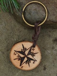 SALE Rustic Compass Keychain by downtoearthcraft on Etsy
