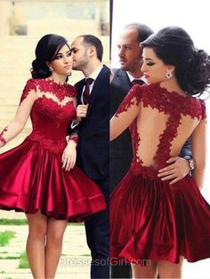 Short Prom Dress, Long Sleeve Prom Dresses, Open Back Homecoming Dress, Red Homecoming Dresses, Satin Cocktail Dress