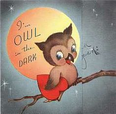 Vintage Valentine Card With Owl 1950s