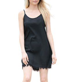 Love this 42POPS Black Lace-Trim Spaghetti Strap Dress by 42POPS on #zulily! #zulilyfinds