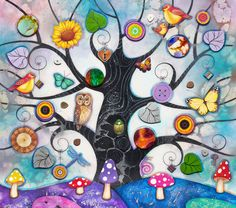 'Blue Tree of Charms' by Kerry Darlington.  Unique edition print with resin & 3D elements. Each piece is unique.  Available at Wyecliffe: http://wyecliffe.com/collections/kerry-darlington-art/products/blue-tree-of-charms-kerry-darlington