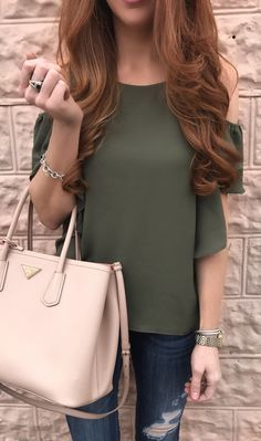 Green Open Shoulder Top / Pink Leather Tote Bag / Ripped Denim