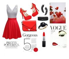 """""""Red"""" by vanessatimotio ❤ liked on Polyvore featuring Material Girl, GUINEVERE, Alexander Wang, Cristabelle, Bling Jewelry, Pomellato and MAC Cosmetics"""