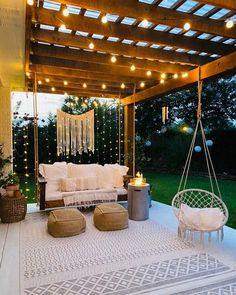 Backyard Patio Designs, Cozy Backyard, Backyard Projects, Backyard Decorations, My Patio Design, Cool Backyard Ideas, Desert Backyard, Romantic Backyard, Cozy Patio