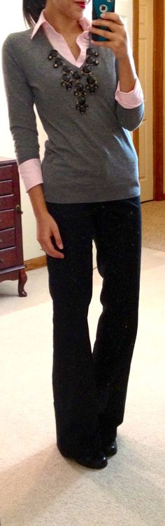 Easy to get this look, pink button shirt, gray v neck, black pants.  All already in the closet :)