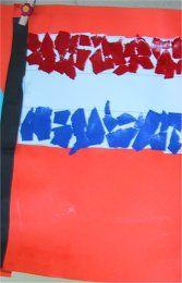 Koninginnedag knutselen - Juf Sanne vlag met gescheurde stukjes