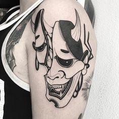Oni Mask Tattoo, Hannya Tattoo, Unique Tattoos, Beautiful Tattoos, Cool Tattoos, Black Tattoos, Body Art Tattoos, Sleeve Tattoos, Japanese Tattoo Art