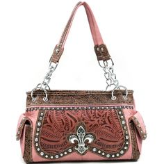 Women's Studded Western Shoulder Bag with Fleur de Lis Accent & Floral Trim