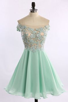 Stylish Off-the-shoulder Cap Sleeves Illusion Back Short Mint Homecoming Dress…