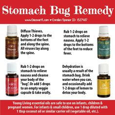 Young Living Essential Oils: Stomach Bug Remedy. Get your own oils at WWW.THEOILESSENTIALS.COM