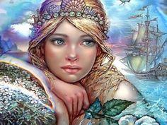 New DIY 5D Diamond Embroidery Diamond Paintings Rhinestone Pasted cross stitch Kit daughter of sea diamond mosaic