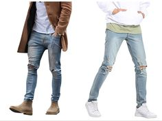 Men's Vintage Skinny Fit Destroyed Cotton Denim Jeans with Knee Open Rips Casual Outfits, Men Casual, Skinny Fit, Vintage Men, Denim Jeans, Fitness, Cotton, Stuff To Buy, Fashion