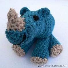 Rupert the Baby Rhinoceros - Free by Anette Bak & Dedri Uys of Look At What I Made  Hippos & Rhinos - Animal Crochet Pattern Round Up - Rebeckah's Treasures