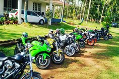 The line up for breakfast at @sujnanjain's place. Wonderful host  #revlimiterz #mangalore #coastalsuperbikers #karkala #karnataka #harleydavidson #fatbob #Kawasaki #ninja250 #ninja650 #z280 #Honda #CB1000r #yamahaFZ1 #yamaha #fz1 #Ktmduke390 #Ktm #duke390 #KtmRC390 #rc390 #street750 #iron883 #superbikes #supersport #sportsbike #bikelife #superbike #sportbike #sportsbikelife