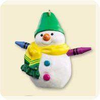 2007 - Hallmark Ornament - Crayola Rainbow Snowman REPAINT - Hallmark Keepsake Christmas Ornaments