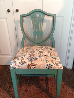 Charmant Refurbished Chair. Teal With Brown Glaze