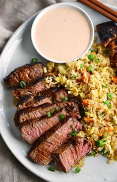 This Japanese Steakhouse Yum Yum Sauce goes perfectly with Japanese Hibachi Steak and Salmon and a side of Fried Rice and Grilled Vegetables! Hibachi Recipes, Steak Recipes, Grilling Recipes, Cooking Recipes, Vegetarian Grilling, Grilling Tips, Healthy Grilling, Game Recipes, Barbecue Recipes