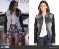 Emily's denim jacket with leather sleeves on Pretty Little Liars.  Outfit Details: http://wornontv.net/49940/ #PLL (exact color not online)