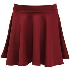 Pilot Scuba Skater Skirt (£20) ❤ liked on Polyvore featuring skirts, wine red, red circle skirt, flare skirt, red skirt, flared skirt and red skater skirt