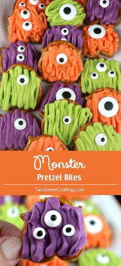 Monster Pretzel Bites - you'll only need pretzels, candy melts and googly…