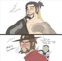 "junelets: ""I like to think Hanzo's laugh isn't all elegant. He snorts a lot. Mccree thinks its endearing. Needed to cheer myself up~ """