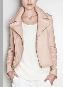 pink nude leather motorcycle jacket