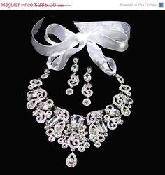 Wedding jewelry set, OOAK Bridal bib necklace, crystal earrings, vintage inspired rhinestone bridal statement, Swarovski jewelry set