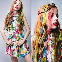 Rainbow Hair by Ruby June for Nylon Magazine ❤ liked on Polyvore featuring beauty products and haircare