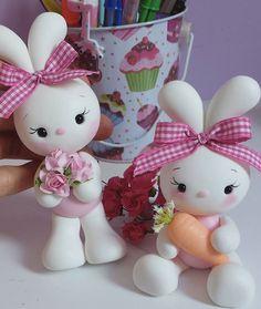 Ideas For Craft Button Polymer Clay Sculpey Clay, Cute Polymer Clay, Polymer Clay Crafts, Fondant Animals, Clay Animals, Bunny Party, Bunny Birthday, Clay Fairies, Clay Figurine