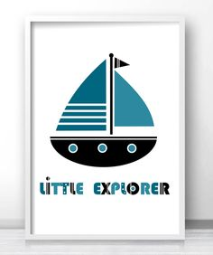 Kids Wall Art Print, Kids Print, Boy Nursery Art, Playroom Decor, Boys Room Decor, Sail Boat Art For Boys Room, 8x10 Print, Blue Nursery Art