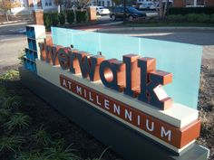 Riverwalk apartment dimensional monument sign