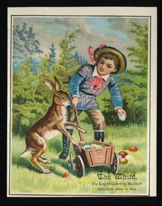 Trade Card White Sewing Machine San Francisco Rabbit Easter Eggs