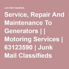 Quality Service and repair to all makes and sizes of Generators by a professional technician with years of experience and access to all reso. Junk Mail, Generators