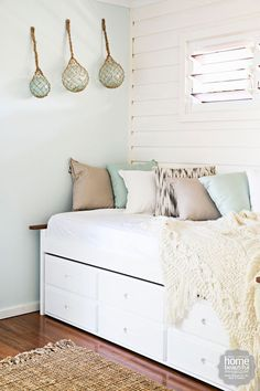 Spare room idea. Put a bed like this in and then make an office space along side of it. Beautiful! HOUSE RULES: QLD reveal - Maddi and Lloyd