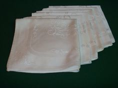 Luxury Damask White Dinner Napkins Set of Six by EauPleineVintage, $20.00