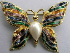 Vintage Signed Enamel Faux Pearl Butterfly Brooch Pin ©FO Rainbow Colors #FO