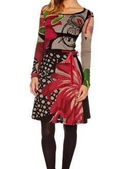 Sale Desigual Infort Dress Tunic Red Velvety Belt 28V2839 Braided Neckline | eBay