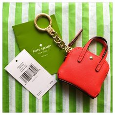 """♠️ NWT Kate Spade Red Maise Keychain / Keyring ♠️ ♠️ Authentic NWT Kate Spade Maise Key Chain / Key Ring / Key Fob in Cherry Liqueur  (Bright Red) ♠️ KS Style #1KRU0060 ♠️ Cute little coin purse keychain that is modeled off the popular Maise bag from Kate Spade! ♠️ Dimensions: ~3.5"""" x 2.2"""" ♠️ Bright red Saffiano leather with gold zipper + signature spade ♠️ Zip top with easy slide keychain closure ♠️ Adorable little piece -- perfect for any Kate Spade girl! ♠️  No Trades!   Price is Firm…"""