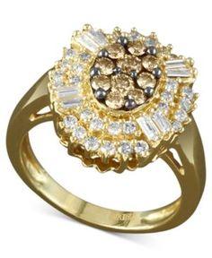 Effy Diamond Cognac and White Diamond Oval Burst (3/4 ct. t.w.) in 14k Gold