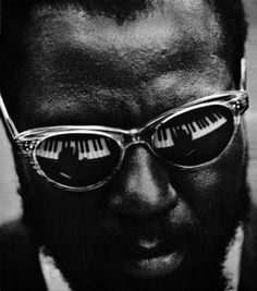 "© Herb Snitzer, 1959, Portrait of Thelonius Monk, New York This photograph was made at a United Nations meeting while Monk was playing to a very appreciative audience of Ambassadors and other distinguished persons. Out of respect to the United Nations, Monk took off his trademark hat. ""I guess, you know, if I didn't make it with the piano, I guess I would've been the biggest bum."" (Thelonious Monk) » find more photos of famous people here «"